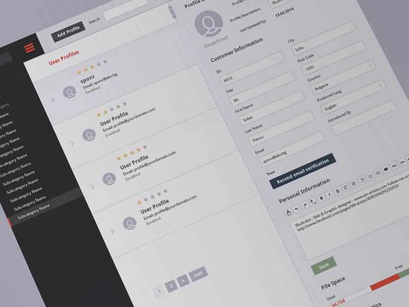 CMS Dashboard PSD Design