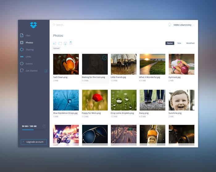 Dropbox Redesign UI – Free PSD