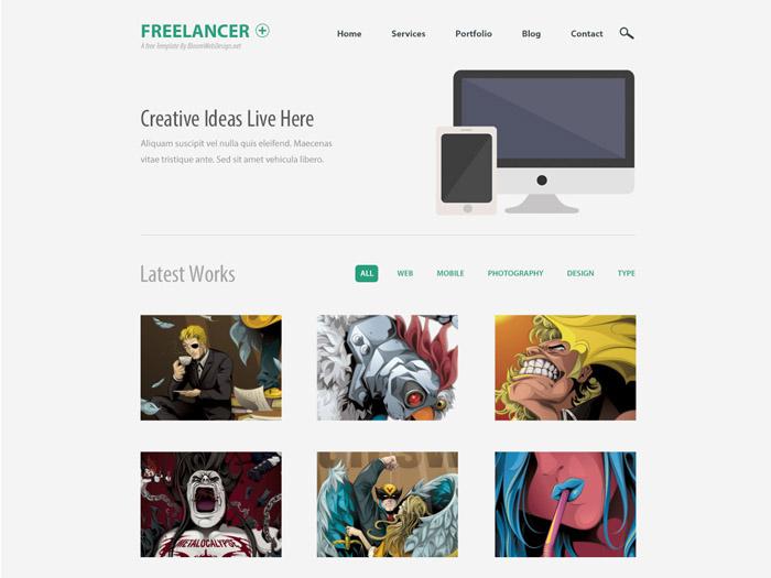 Freelancer : Minimalist One Page PSD Web Template