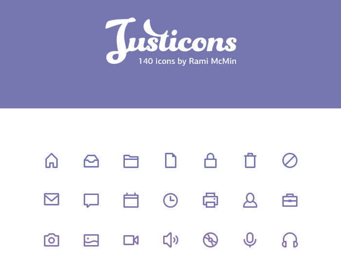 Justicons : 140 Free Stroke Icons