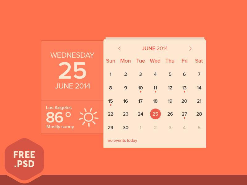 Free Calendar & Weather Widget PSD