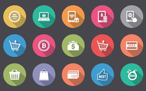 50 Flat Ecommerce Icon with Long Shadow Style