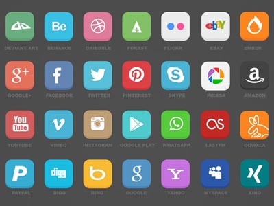 42 Social Icons with Flat Design Style