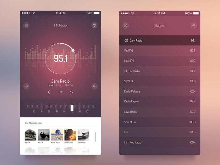 FM Radio UI App PSD for iOS 7