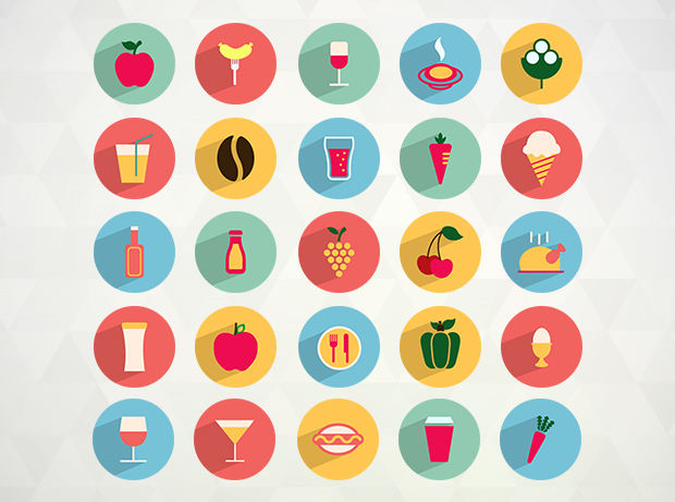 Flat Vector food and drink icons