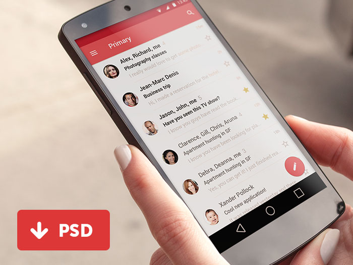 Android L Gmail Layout UI PSD