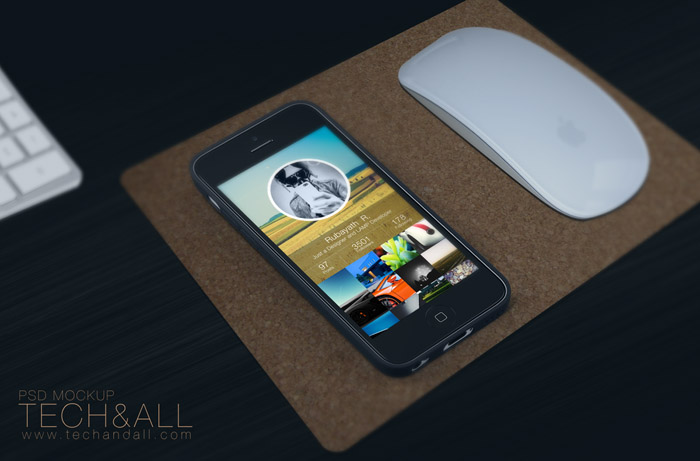 Realistic iPhone Work space Mockup PSD