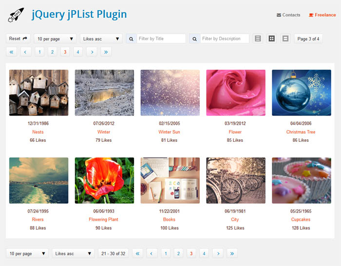 jPList – jQuery Plugin for Sorting, Pagination and Filtering