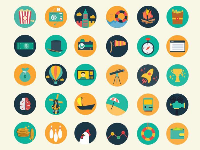Meroo : 110 Flat Coloured Icons