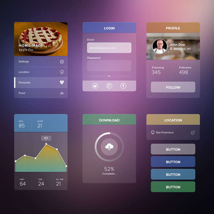 Free UI kit PSD with transparent elements