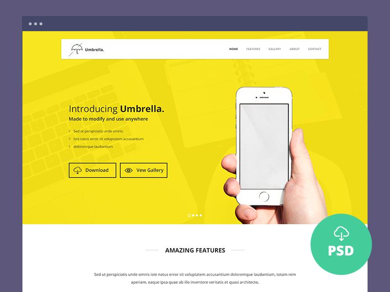 Umbrella : Single Page PSD Template