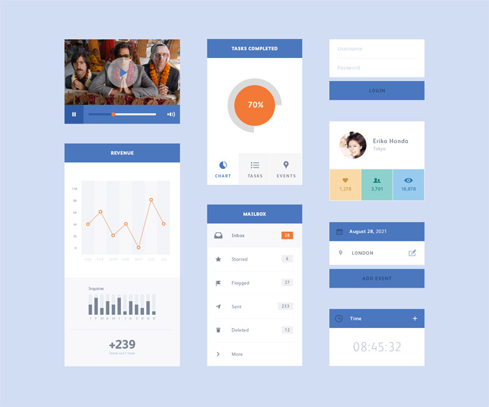 Flat PSD UI Kit by Marcel Akiyama