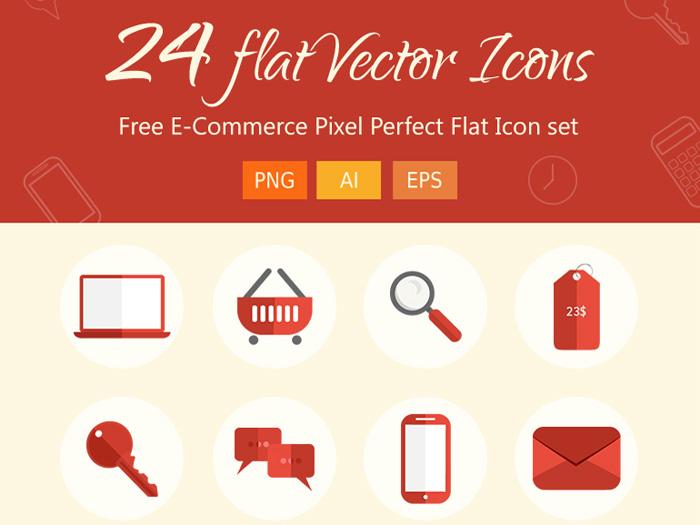 Free Flat Ecommerce Icons set