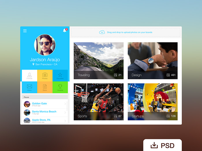 Webapp Dashboard Profile PSD