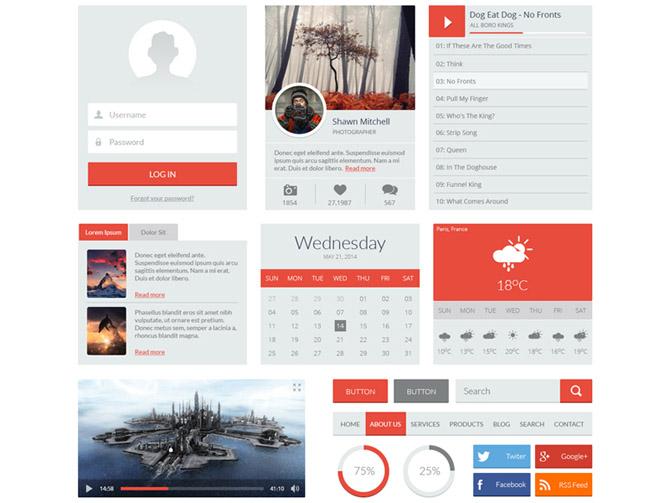 Free Flat Red UI Kit PSD