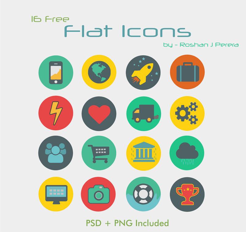 16 Free Flat Retro Style Icons