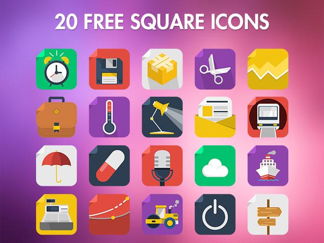 20 Free Flat Square Icons