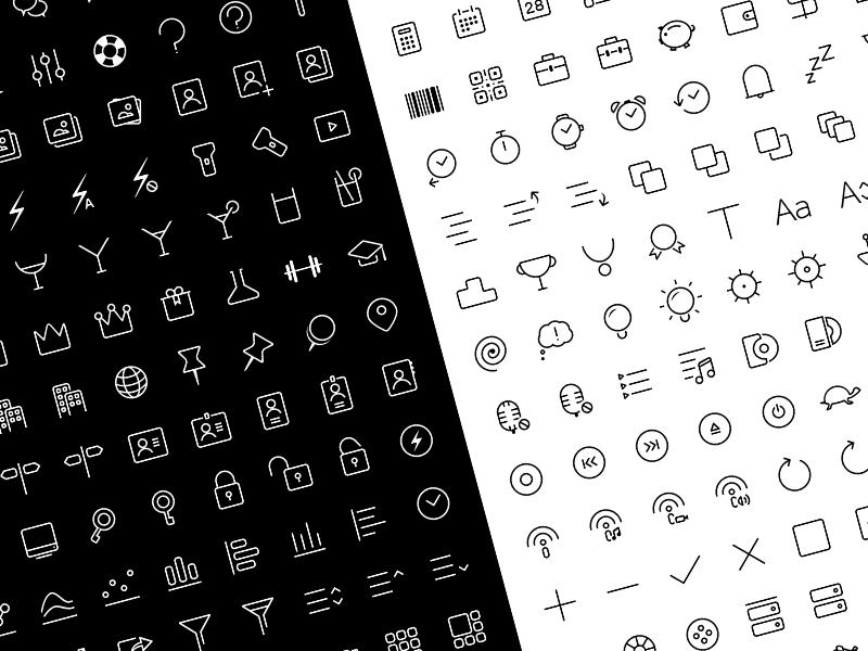 100 Free Minimalistic Line Icons