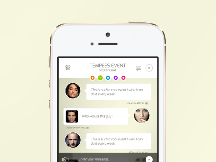 Free PSD iOS Chat Screen