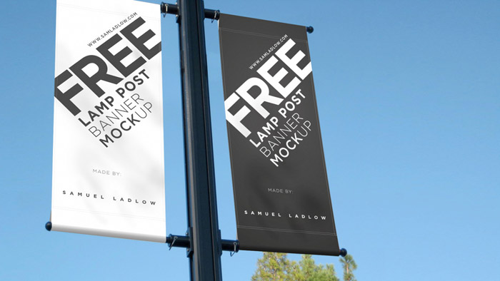 Lamp Post Banner PSD Mockup
