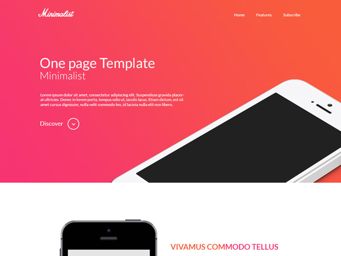 Free Minimalist One Page PSD Template