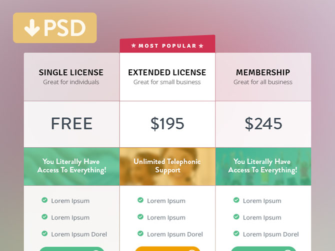 Free Colorful Pricing Table PSD