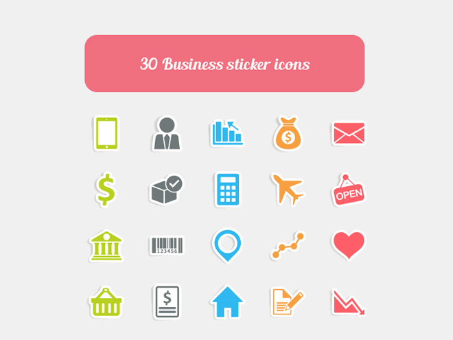 30 Free Business Sticker Vector Icons