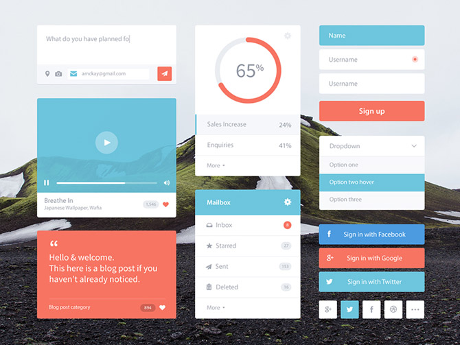 Free PSD Flat UI Kit by Andrew McKay