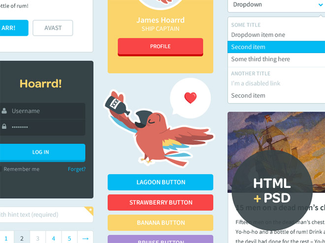 Free Colorful Flat HTML + PSD UI Kit