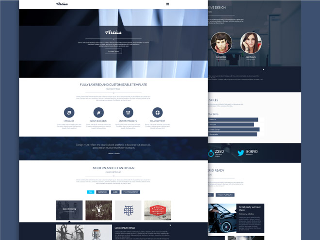 Artica – One Page PSD Template