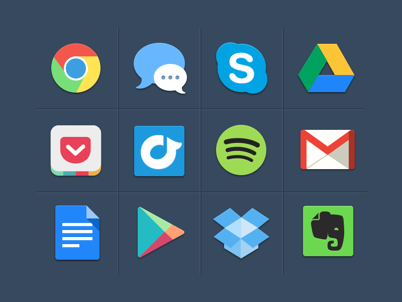Free Colorful Flat Icons PSD