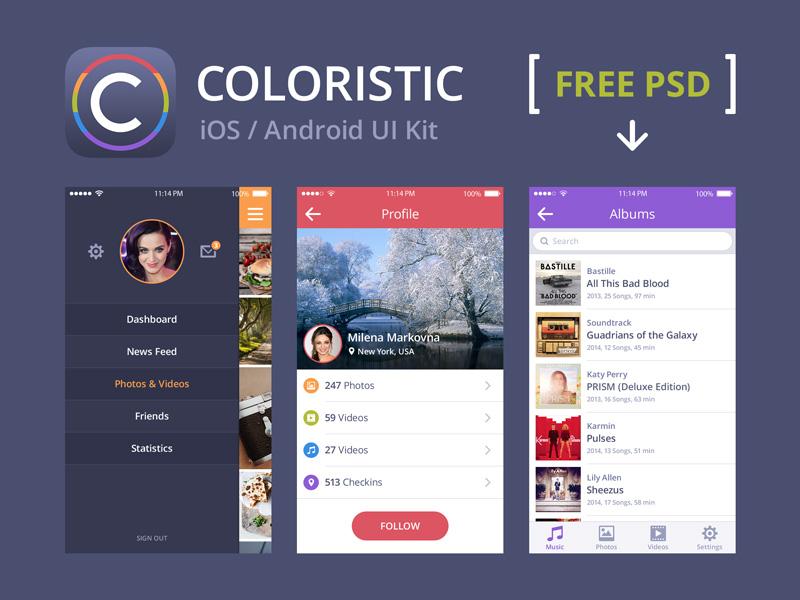 Free Coloristic iOS / Android UI Kit