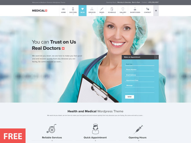 Free Medical PSD Web Template