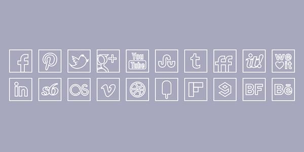 White Line Colour Icons Set