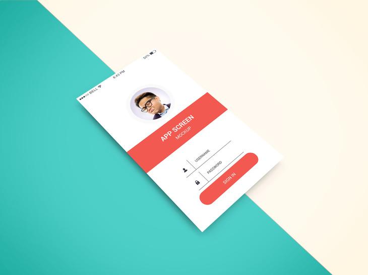 Isometric Apps Screen PSD mockup