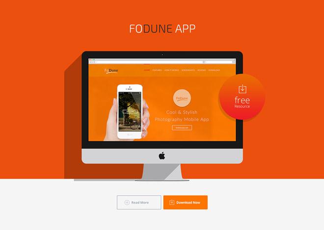 Fodune : Free Photography App PSD Landing Page