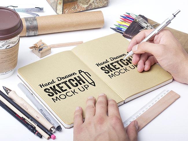 Free Hand Drawn Sketch MockUp