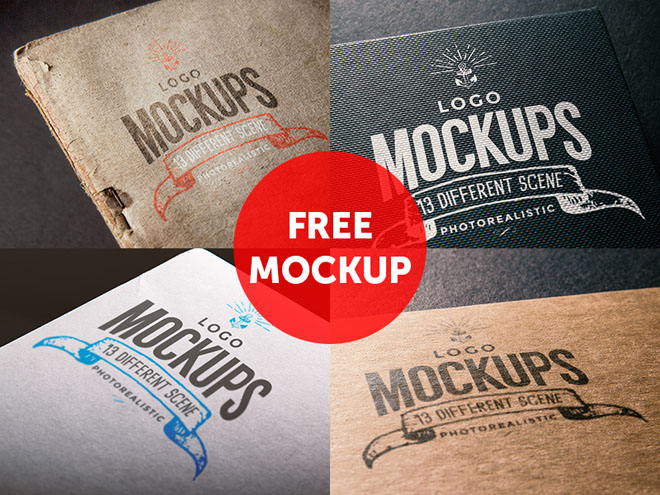 4 Free Logo Mockup PSD