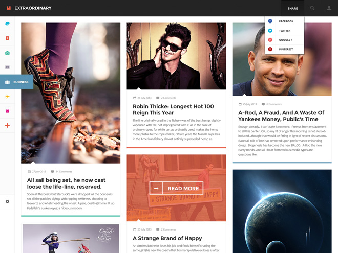 Extraordinary – Magazine PSD template