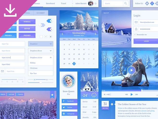Snowflake : Winter-styled UI Kit