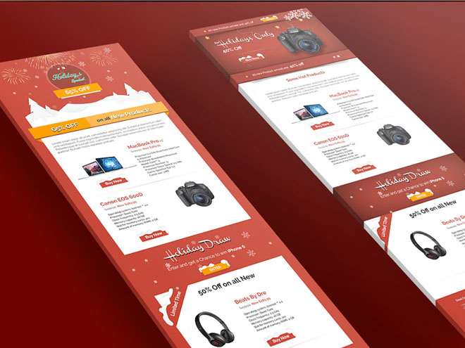 Xmas – Email Newsletter PSD Template for Christmas Moment