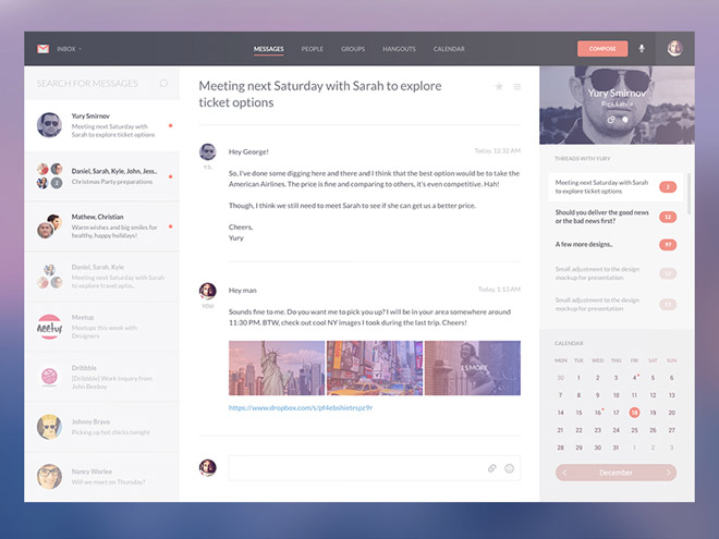 Gmail Interface Redesign Concept PSD