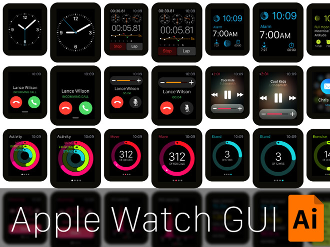 Free Vector Apple Watch GUI
