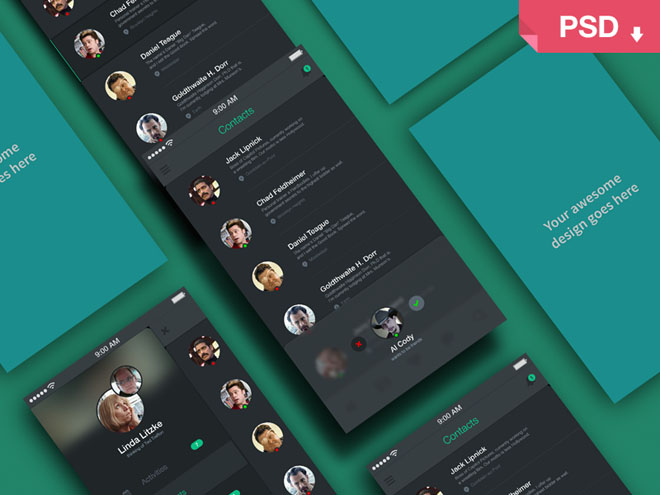 Free Apps Screens Perspective Mockup PSD