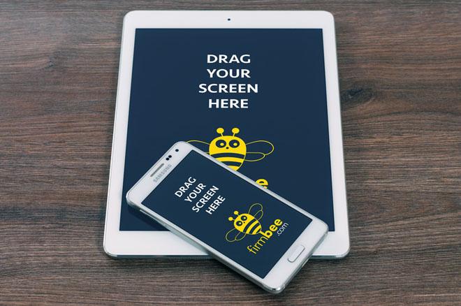 iPad and Samsung Galaxy Alpha Mockup PSD
