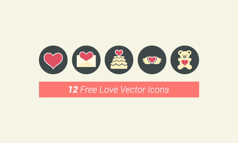 12 Free Flat Vector Love Icons