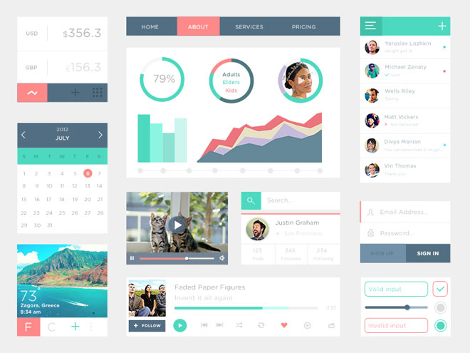 Flat PSD UI Kit with Nice Color