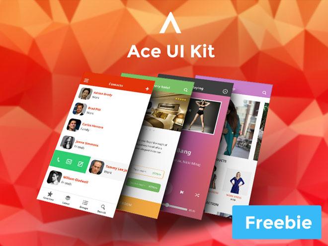 Ace : Free Mobile iOS 8 UI Kit PSD