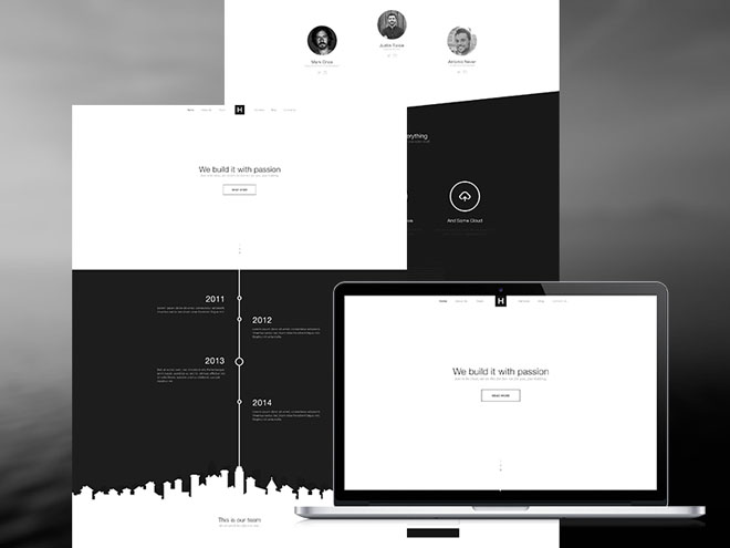 B&W : Free Black and White PSD Web Template