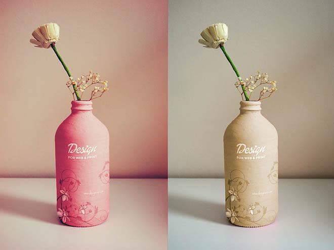 Free Photorealistic Handmade Bottle Mockup PSD